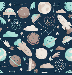 Kids space seamless pattern simple sky background vector