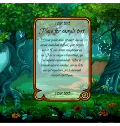 Landscape with magic tree and sample text vector