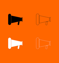 loud speaker or megaphone black and white set vector image