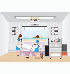 Maid cleaning hotel room with housekeeping trolley vector