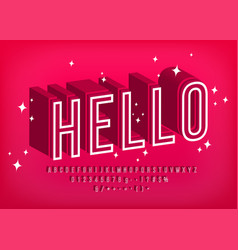 modern 3d font hello outline alphabet for poster vector image