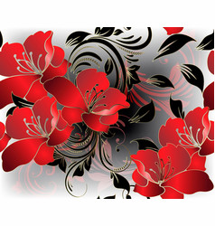 Modern floral 3d red flowers seamless pattern vector