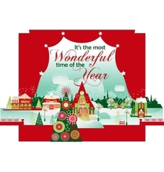 Most wonderful time christmas card vector