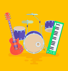 Musical instruments set guitar drums rock band vector