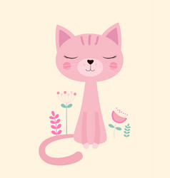 pink cat and flowers vector image