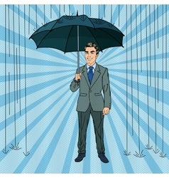 Pop Art Happy Businessman with Umbrella vector