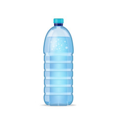 realistic bottle with clean blue water isolated on vector image