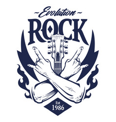 rock emblem art vector image