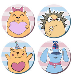 Round stickers with funny cute cartoon animals vector