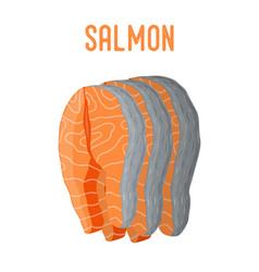 Salmon seafood fresh fish orange fillet vector