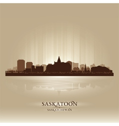 Saskatoon Saskatchewan skyline city silhouette vector image