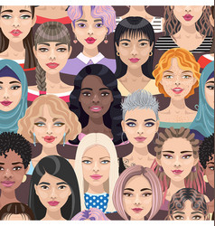 seamless pattern with women faces vector image