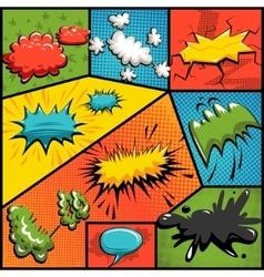 set of comics explosion bubbles vector image
