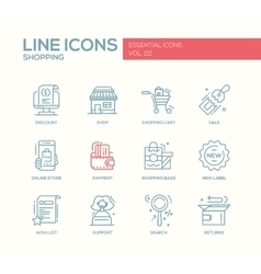 Shopping - line design icons set vector image