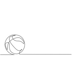 single one line drawing basketball on the vector image