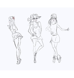 sketch drawing girl vector image