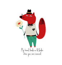 smartly dressed fox with flower vector image