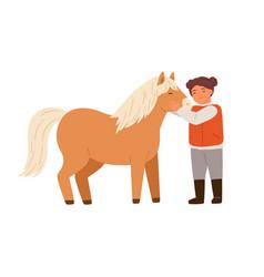 Smiling little girl hugging pony feeling love vector