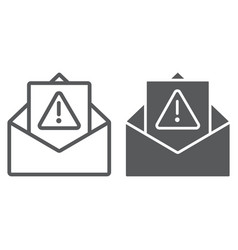 spam warning line and glyph icon letter and email vector image