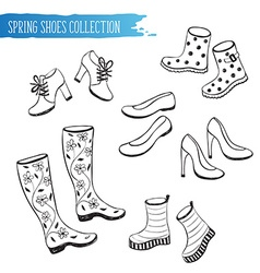 Spring shoes collection vector