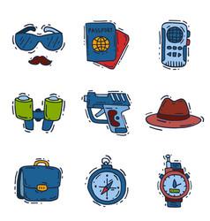 Spy icons cartoon detective set mafia agent vector