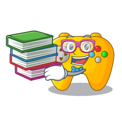 Student with book retro computer game control on vector