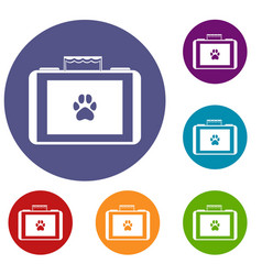 suitcase for animals icons set vector image