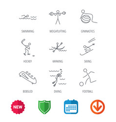 Swimming football and skiing icons ice hockey vector