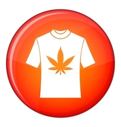 T-shirt with print of cannabis icon flat style vector