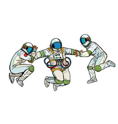 Three astronauts in space in zero gravity isolate vector