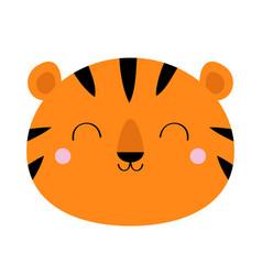 Tiger face icon cute cartoon kawaii funny smiling vector