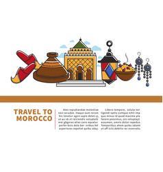 Travel to morocco promo poster with sample text vector