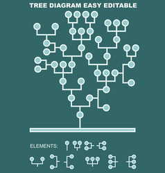 Tree diagram composed of circle elements and vector