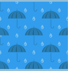 Umbrella and rain drops seamless pattern vector
