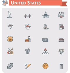 United States travel icon set vector