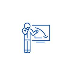 upset businessman graph down line icon concept vector image