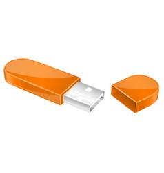 Usb flash drive with cap orange memory stick vector