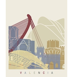 Valencia skyline poster vector image