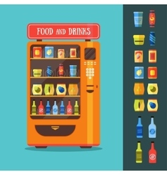 Vending Machine with Food and Drink Packaging Set vector