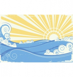 Vintage sea waves vector