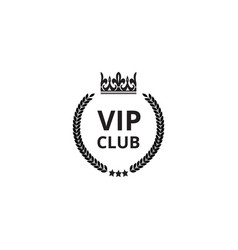 vip club icon with crown silhouette and round vector image