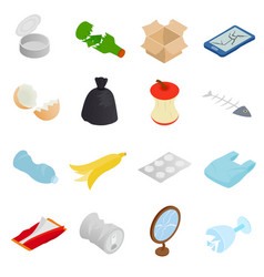 Waste and garbage icons set isometric 3d style vector