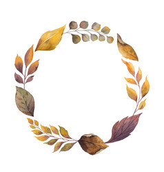 Watercolor autumn wreath with red rose and vector
