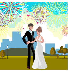 Wedding invitation card with couple and firework vector