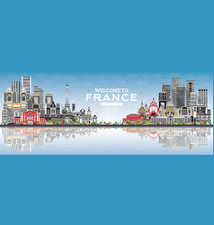 welcome to france skyline with gray buildings vector image