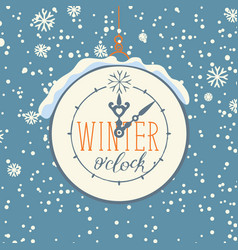 Winter banner with clock and snowflakes vector