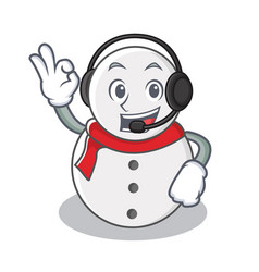 With headphone snowman character cartoon style vector