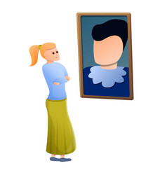 Woman look gallery picture icon cartoon style vector