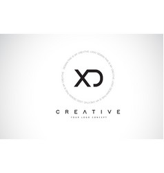 Xd x d logo design with black and white creative vector