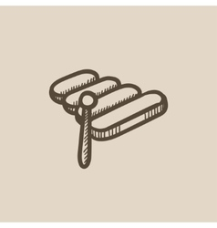 Xylophone sketch icon vector image